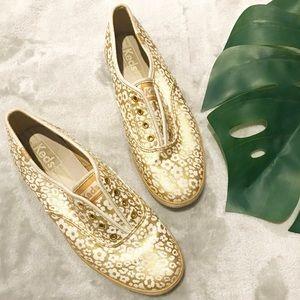 KEDS Rare slip on gold cheetah floral shoes